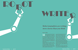 Magazine spread of robot arms